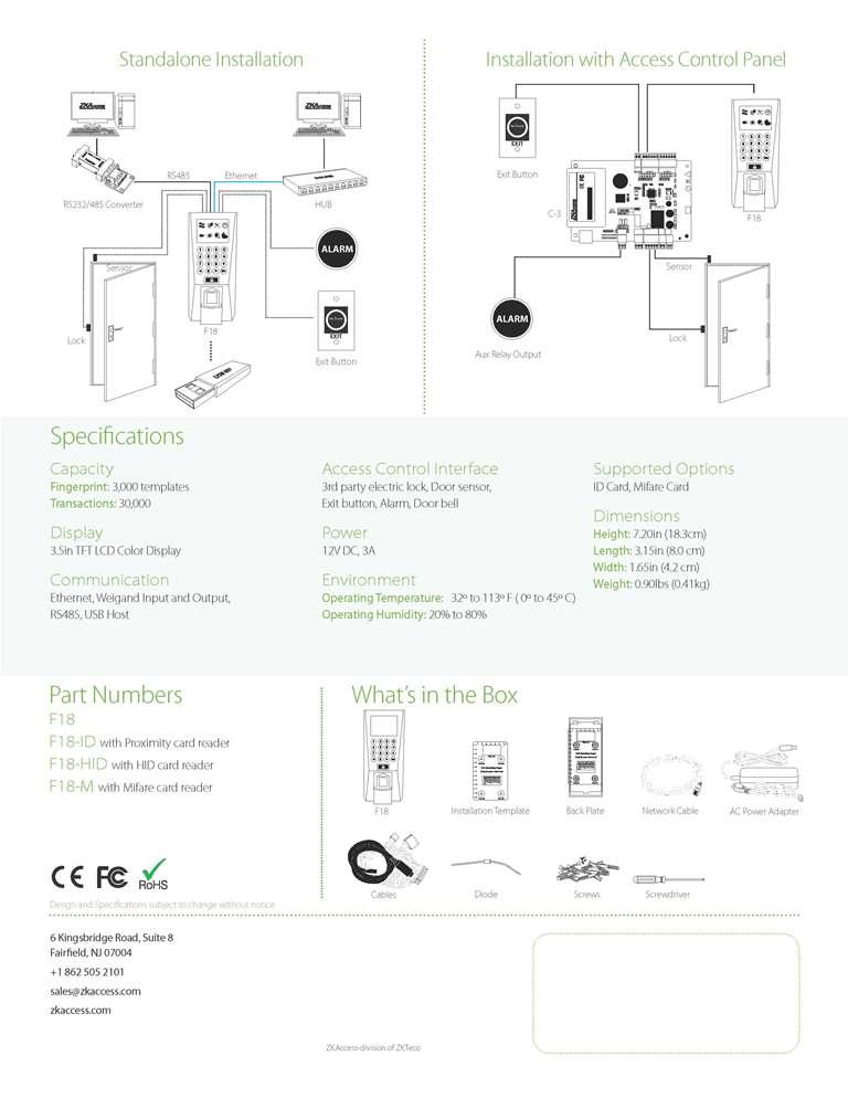 ZK F18 Fingerprint and RFID Access Control
